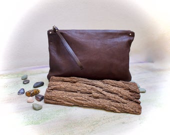leather clutch bag, brown leather clutch, wristlets clutch hand made