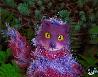 Cheshire cat Alice in wonderland OOAK - RESIN, hairy wool - By Kaori