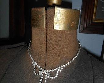 Vintage Rhinestone Necklace Bridal Jewelry Wedding Great Gatsby Style Prom Formal Statement Drop Necklace Prong Set Costume Estate Deco