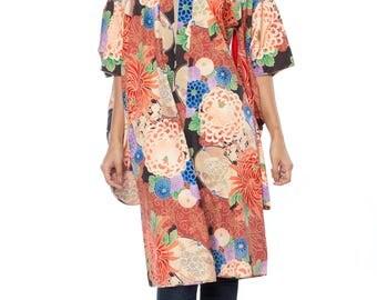 Multicolor Floral Print Silk Kimono Size: S