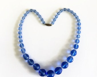 Vintage Blue Glass Bead Necklace, Faceted Beads, Graduated, Something Blue Spring and Summer Jewelry
