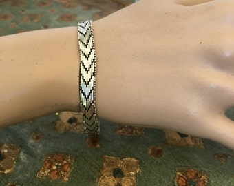 Italian Riccio Bracelet, Sterling Silver Chevron, Woven, Herringbone Bracelet, Made in Italy