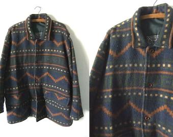 Tribal Pattern Wool Coat - Southwestern Blanket Style Top Coat 90s Abstract Barn Coat - Womens Large