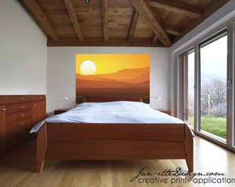 Large Sunset Wall Decal,Removable and Repositionable Wall Decal Mural,Sunrise Wall Art