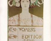 1895 Rose Garden Goddess Alice Glenny Art Nouveau Woman Lithograph Print - Buffalo Courier Women's Edition Typography Victorian Nature Decor