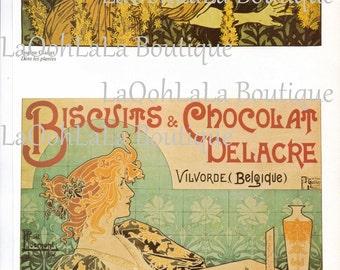 1896 Art Nouveau Chocolat Digital Print Privat Livemont & Eugène Grasset Biscuits Bakery Café Printable Bridal Shower Invites Cards Download