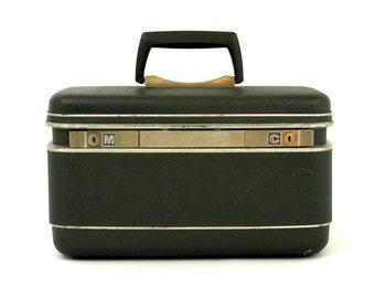 Vintage Train Case Samsonite Luggage Dark Gray and Chrome