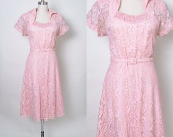 Vintage 1950s Dress 50s Pink Lace Cocktail Dress Size Medium