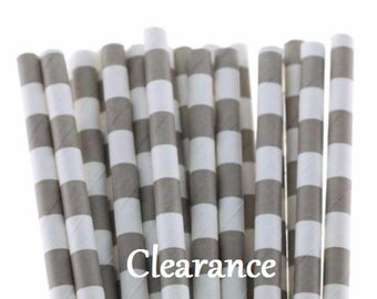 Gray and White Sailor Striped Paper Straws