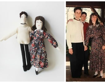 Personalized couple fabric dolls, custom portrait cloth dolls, family dolls from picture, unique wedding anniversary gift for couples