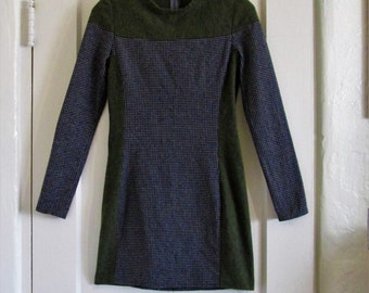 Olive and Gray Houndstooth Sweater Dress size Small
