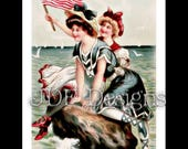 Instant Digital Download, Vintage Edwardian Graphic, Antique Patriotic Bathing Beauties, Flag, Printable Image, Americana, American Beauty