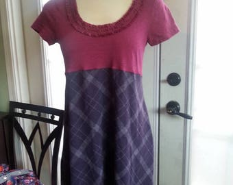 SALE!! Eco fashion Upcycled OOAK small medium tunic baby Doll plaid plum Romantic VERY flattering and cute by Upcycled Swag