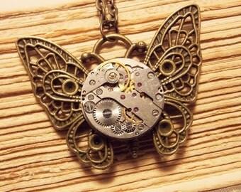 Clockwork Butterfly Necklace