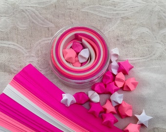 Pink and White Origami Stars Paper Strips Kraft Kit, 100 paper strips