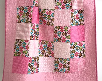 Modern Patchwork Baby Girl Quilt featuring Baby Monkeys Shades of Pink
