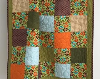 Baby Boy Quilt featuring Michael Miller Monkeys Green Blue Orange Brown Tan
