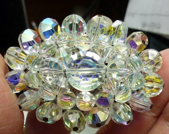 Very Large A B Crystal Pin Brooch-31 grms--50X40mm largest bead 12mm. 1685