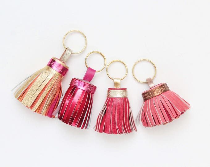 Natural leather key charm-red orange yellow-genuine leather tassel key chains-metal key fobs -bag charms - Choose your color - Ready to Ship