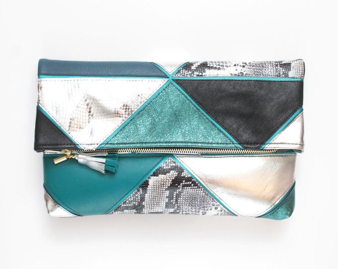 PRISM 28 /Large natural leather bag- leather purse-metallic leather bag-oversized clutch-geometric clutch silver teal green - Ready to Ship