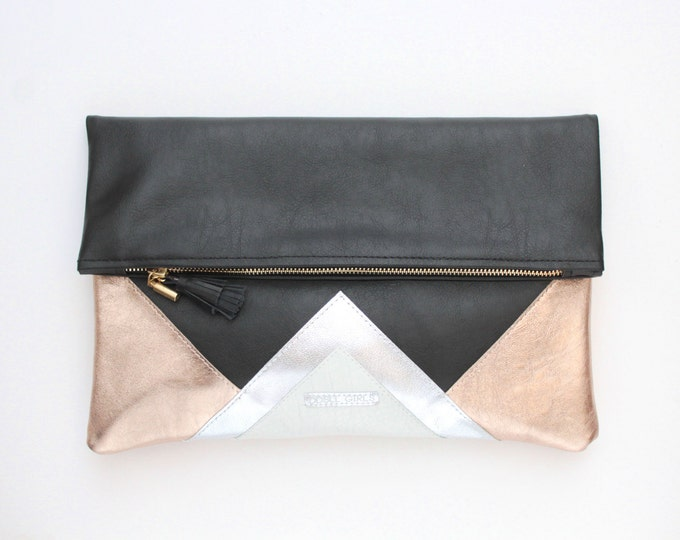 CARRIER 1 / Large clutch bag-leather purse-oversized metallic bag-black leather purse- silver metallic bag-geometric purse-Ready to Ship