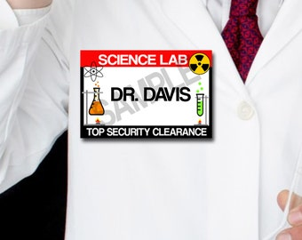 Scientist Name Tags, Science Party Tags, Digital, Instant Download, SET of 10, Science Lab Party