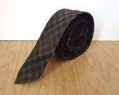 1960s Skinny Plaid Tie / vintage men's gray black burgundy necktie