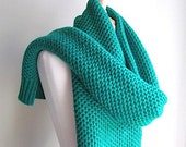 Large Chunky Knitted Scarf Wrap Neck Warmer Scarves Pine Green Women Girls Accessories