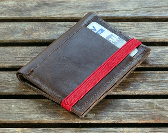 Slim Leather Wallet, Minimalist Wallet, Leather Wallet, Brown, Wallet
