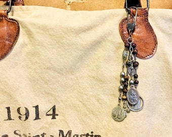Purse Adornments - French Vintage Virgin Mary Medals Clip On
