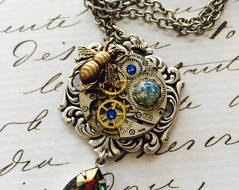 Steampunk Silver Victorian Clock Pendant, Insects, Green/Amber Swarovski Crystal. UK SELLER.