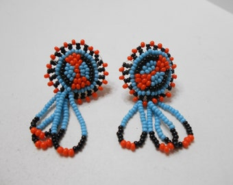 Vintage Native American Beaded Screw Back Earrings (8236)