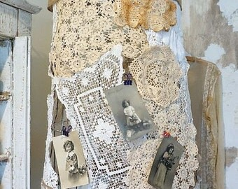 Basket lighting hanging swag shabby cottage chic reclaimed wire farmhouse light fixture embellished w/ lace crochet finds anita spero design