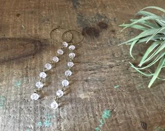 Crystal Bead & 1'' Brass Hoop Long Earrings