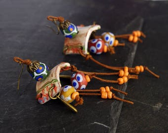 boho african earrings bead threader earrings tribal tribal ethnic jewelry