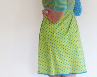 3/4-sleeve, form A, Empire - green and Turquoise dress