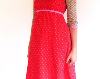3/4-sleeve, form A, Empire - red dress, pink