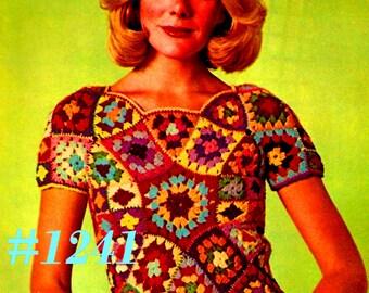 A Best Vintage 1970s Mod Stained Glass Shell Sweater #1241 PDF Digital Crochet Pattern