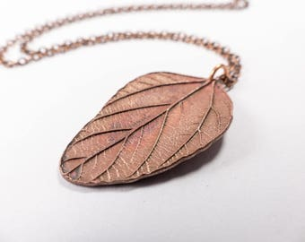 Large Copper Leaf Necklace - Copper Leaf Pendant on Long Copper Chain - Plants and Nature Inspired - Woodland Jewellery