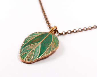 Colourful Necklace - Copper Leaf Necklace - Green Leaves - Nature Lover Gift for Her - Green Necklace - Leaf Pendant - Botanical Jewellery