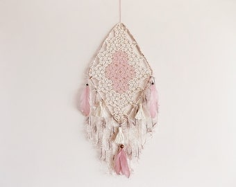 Unique dream catcher, wall hanging, mauve, cream, boho, large dreamcatcher, crochet doily, handmade, home decor, fiber art, boho bedroom