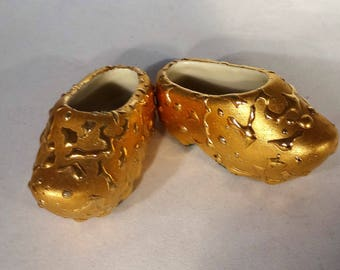 Rare Weeping Gold Shoes, 22KT Gold, Decorative Gold Clogs, Weeping Gold Vintage Shoes