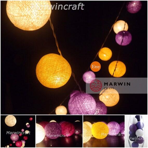 Purple String Lights For Bedroom : Purple Shade String Lights Cotton Balls Fairy Lights Bedroom