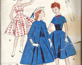 """Vintage 1957  Butterick 8103 Girl's Dress & Duster Sewing Pattern Size 10 Breast 28"""""""
