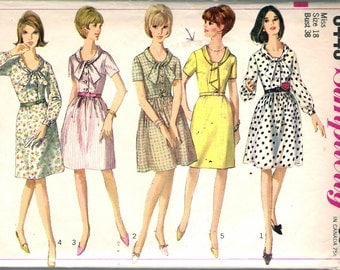 Vintage 1966 Simplicity 6446 One Piece Dress With Two Skirts Sewing Pattern Size 18 Bust 38""