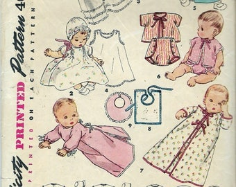 Vintage 1953 Simplicity 4507 Infants Layette Sewing Pattern One Size