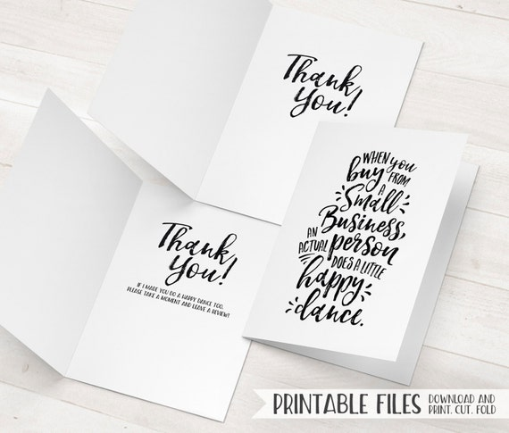 Small Business Thank You Cards Printable Package Inserts Happy