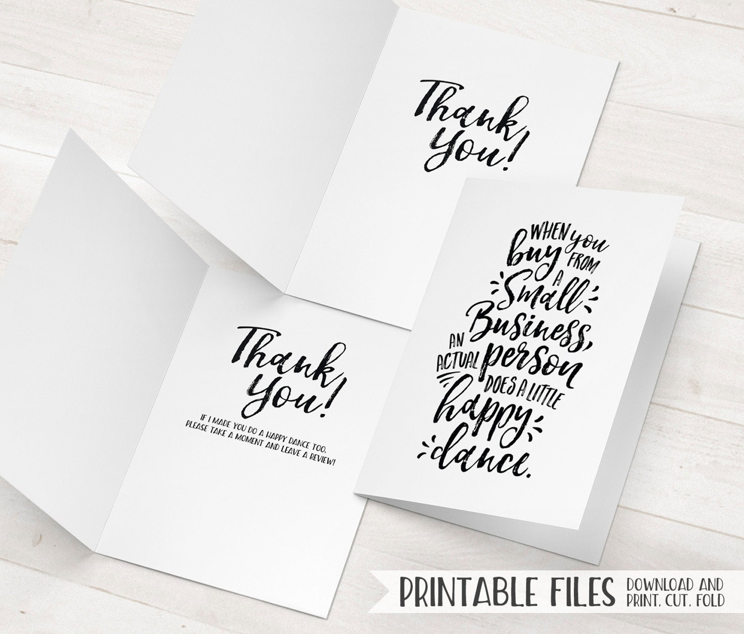 Small business thank you cards printable package inserts for Thank you business card