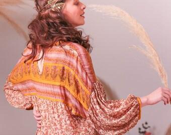 Bohemian Indian silk Georgette dress,Floral dress,Indian dress,Silk dress,Midi dress,Flowy dress,Bridesmaid dress,Maternity dress,Boho dress