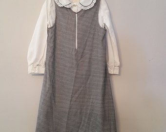 Vintage Girls Black and White Shift Dress over White Blouse- Size 6x- New, never worn